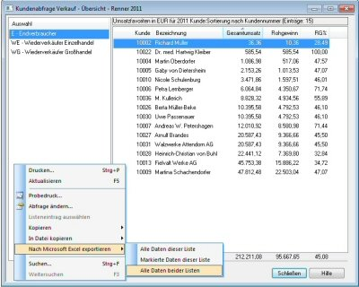 Abfrage Excel Export