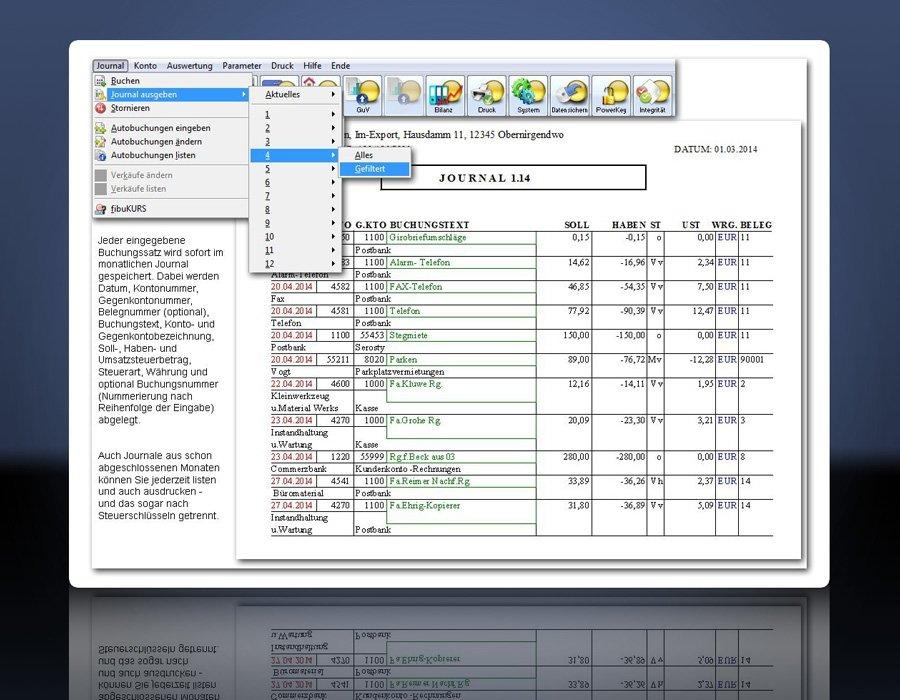 fibuman - chronologisch sortierte, filterbare Journale aller Monate, auch mit Einsicht in Journale früherer Monate