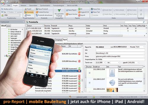 2. Produktbild pro-Report - mobile Baudokumentation und Bautagebuch