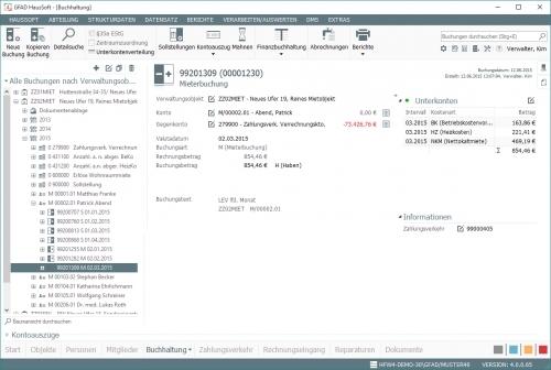 Buchhaltung und Mahnwesen - Buchung mit Details - Mieteinnahmen