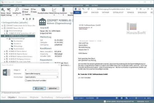 Office-Integration - Einzelbrief MS Word