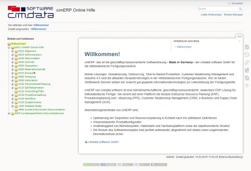 cimWiki Online Hilfe für cimERP Dokumentation
