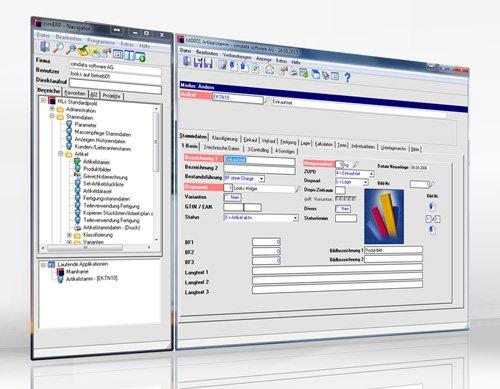 Oberfläche von cimERP - die flexible Software-Lösung für die mittelständische Fertigung. Screenshot.