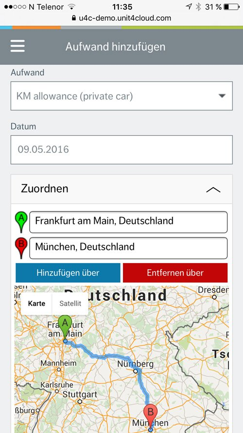 3. Produktbild Unit4 Travel and Expenses - Reisekostensoftware