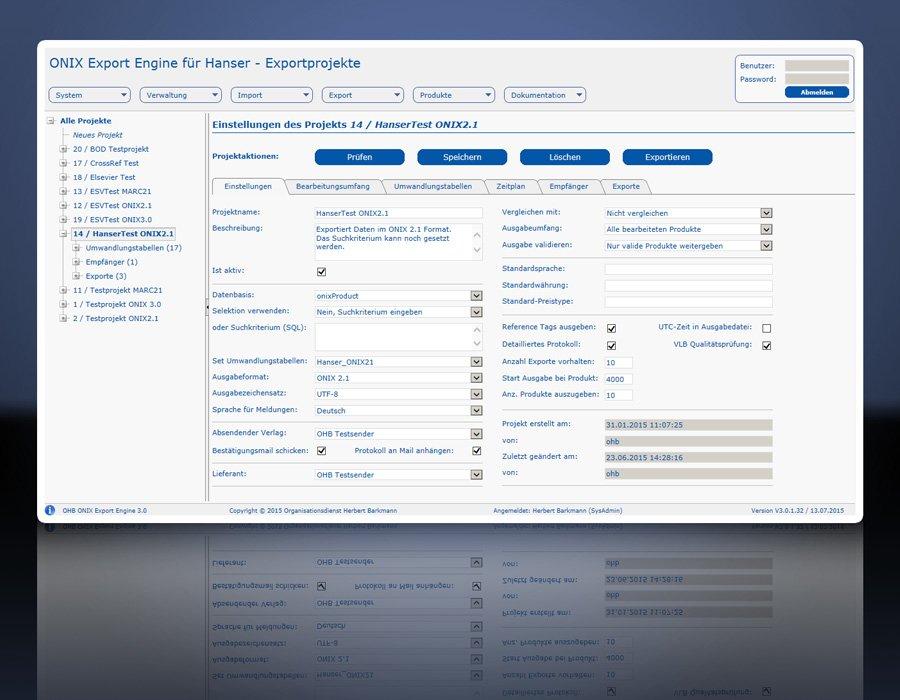 ONIX Export Engine 3.0: Projektverwaltung