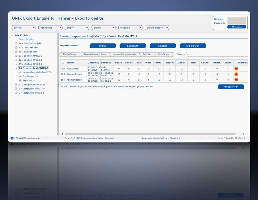 ONIX Export Engine 3.0: Ausgeführte Exporte