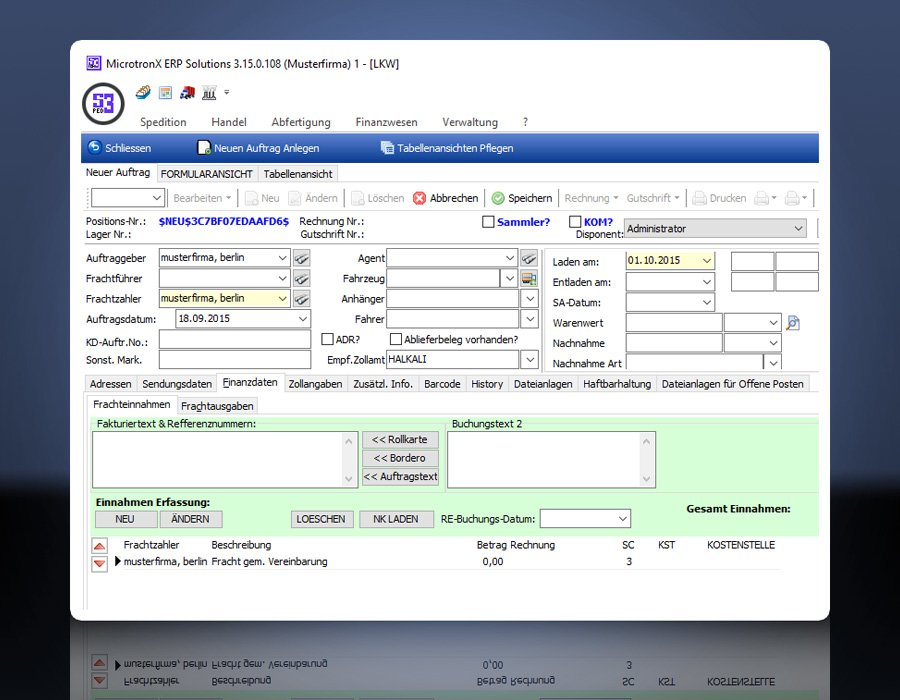 3. Produktbild MicrotronX ERP - Speditionssoftware