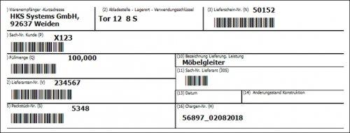 Beispiel Labeldruck
