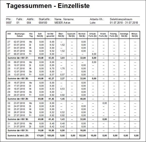 Tagessummen-Einzelliste ZEIT::Plus