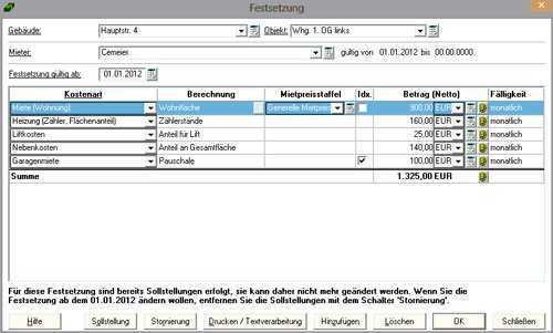 Stammdatenerfassung für Festsetzungen