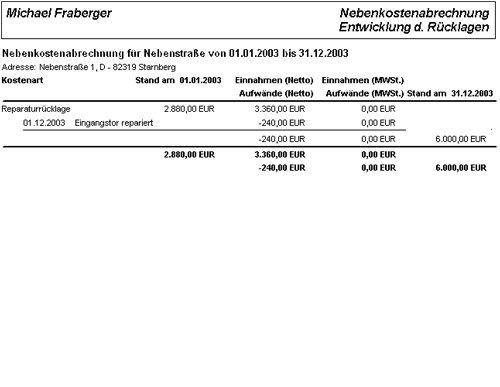Nebenkostenabrechnung (Entwicklung der Rücklagen)