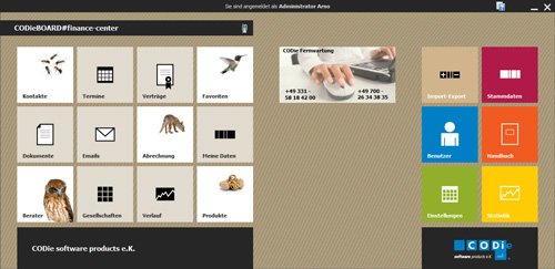 1. Produktbild CODieBOARD#finance-center Maklersoftware+Provisionsabrechnung