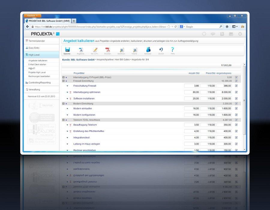 2. Produktbild PROJEKTA® - CRM, Zeiterfassung und Abrechnung für Projekte