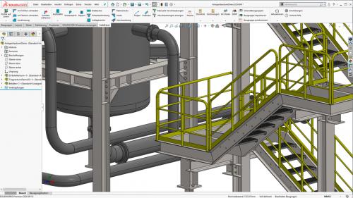 Kombinierte Konstruktion von Stahlbau und Rohrleitungen in SOLIDWORKS