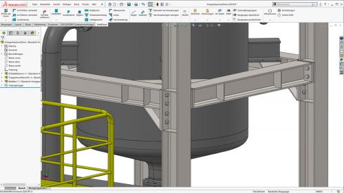 Rohrleitungen, Stahlkonstruktion und Treppenläufe in SOLIDWORKS