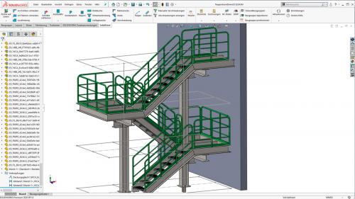 Treppenanlage, konstruiert mit Smap3D Steel, voll integriert in SOLIDWORKS