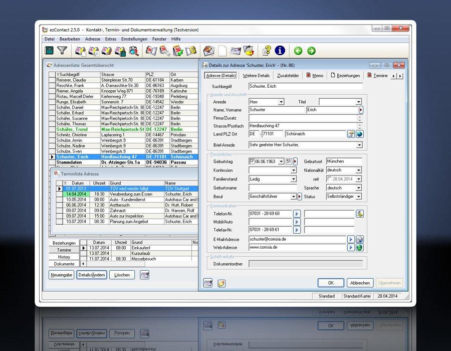 1. Produktbild ezContact - CRM-Software - Dokumentation und Verwaltung von Konta