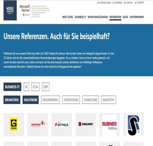 Referenzen MODUS BAUVISION auf www.modusconsult.de