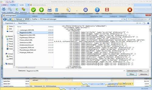 PraxPlan von Webseite Branchenleistungen aus XML-Datei importieren