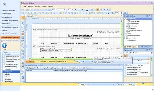 PraxPlan Einstellung eigene Druckvorlagen mit  Berichtsdesigner