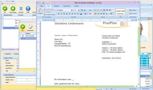 PraxPlan Kundenverwaltung Brief erzeugen mit Datenübernahme