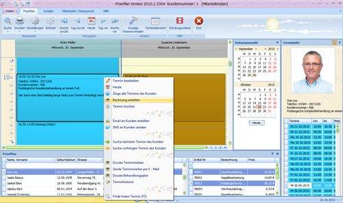 PraxPlan Rechnung direkt aus Terminplan erstellen