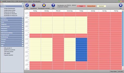 adad95 - Der Stundenplan, jeder Mitarbeiter kann abweichend von PX Öffnung seinen eigenen Plan erhalten, auch Wechselsch