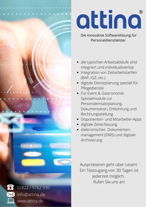 Informationsflyer Attina - die innovative Softwarelösung für Personaldienstleister