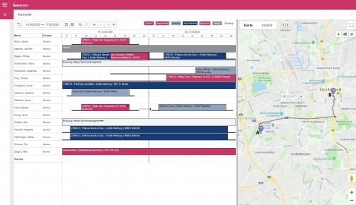 Innosoft Dispatch mit eingeblendeter GeoMap Karte