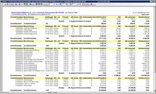 Anlagenbuchhaltung Berichtsdesigner
