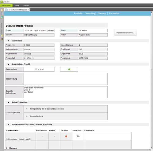 4. Produktbild prevero Multiprojektcontrolling