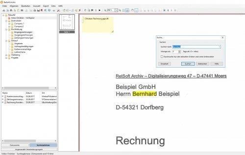 RetSoft Screenshot - Volltextsuche mit Suchbegriff-Markierung