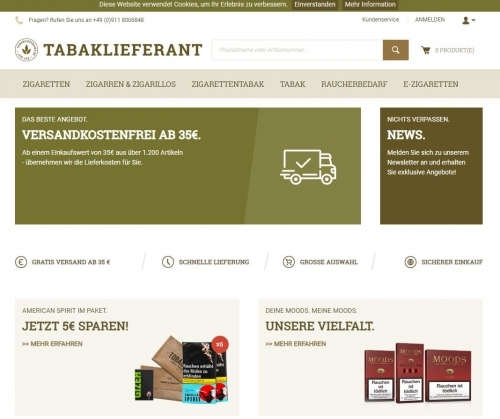 Tabaklieferant Webshop