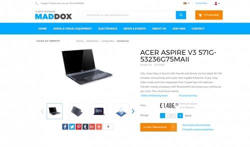 Produktansicht Sana Webshop (Beispiel)