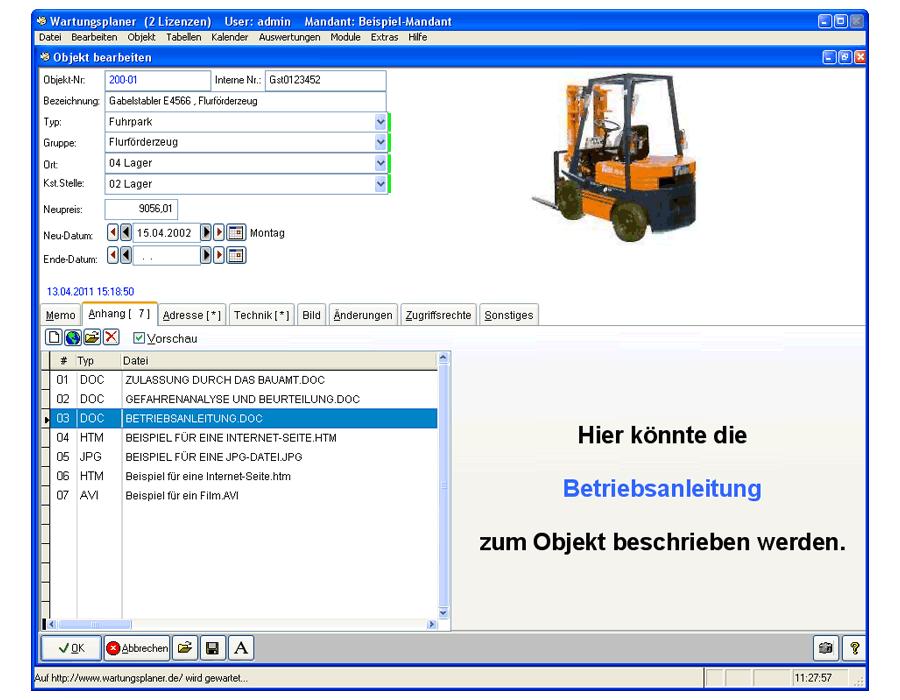 3. Produktbild Wartungsplaner BGV Prüffristenmanagement Instandhaltungssoftware