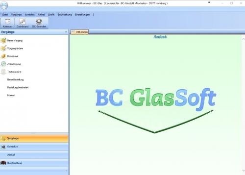 BC-Glas Startbildschirm
