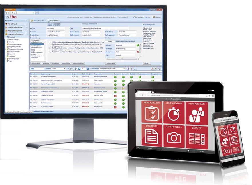 netProject-WebApp für Smartphones und Tablet PCs