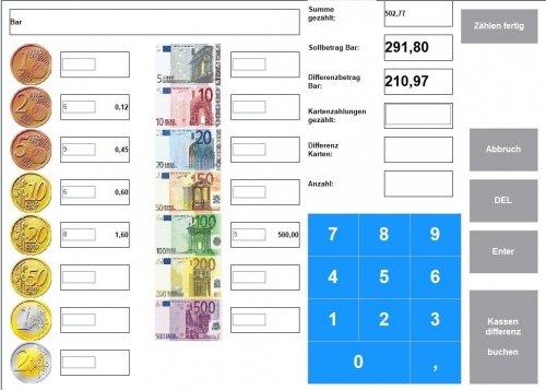 Maxstore Kassensoftware mit Geldzählung beim Tagesabschluss