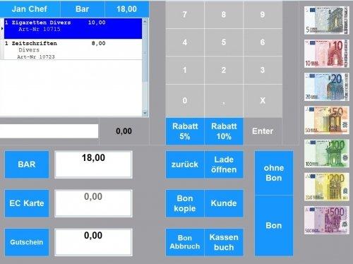 Maxstore Kassensoftware mit Zahlseite. Zahlarten: Bar, EC, Kreditkarte, Gutschein, auf Rechnung, Prepaid, Coupon