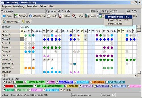 3. Produktbild CHRONEX-Zeiterfassung - Dienstplaner