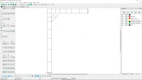 Eingabe des FEM-Modells mit den DXF-Layern NETZ, LAGER, LASTEN und MATER