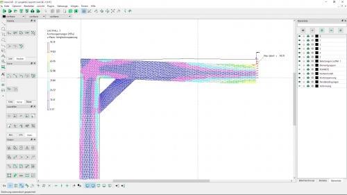 FEM-Ergebnis mit den DXF-Layer FEMNETZ, Kantenmodell, Knotenspannungen, Randbedingungen, Belastungen