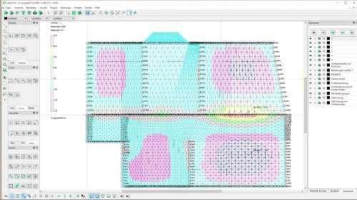 Plattenberechnung eines Grundrisses mit einer DXF-Biegespannung und Auflagerkräfte