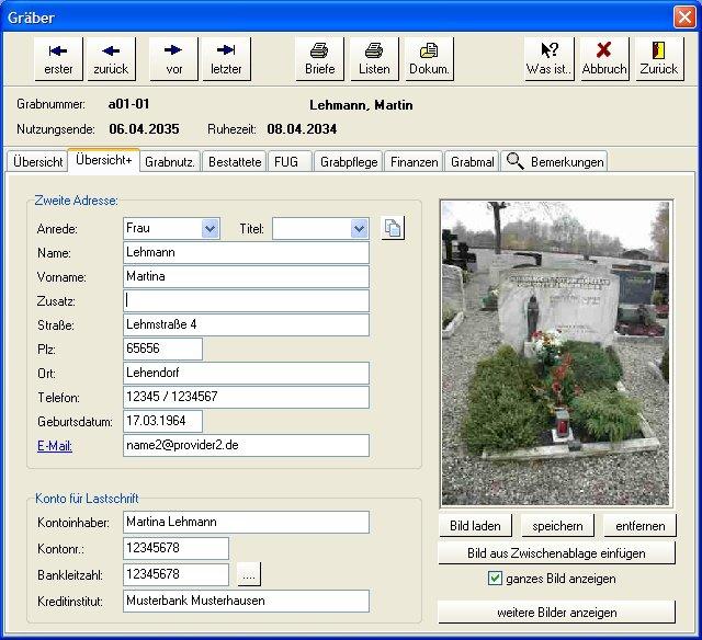 2. Produktbild  PC-FRIEDHOF Software zur Friedhofsverwaltung