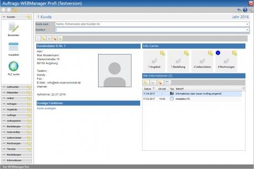 Ausgabe der Kundendaten im Ausgabe-Style Desktop