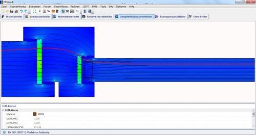 WINISO® Dampfdiffusionsstromfelder mit Isothermen