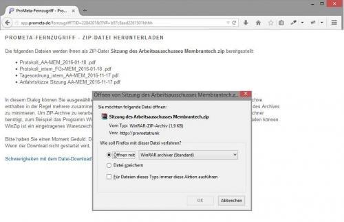 ZIP-Datei-Download per Fernzugriff