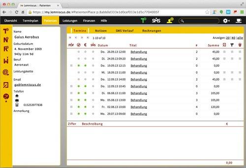6. Produktbild LEMNISCUS - Praxissoftware / Praxisverwaltung