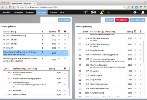 7. Produktbild LEMNISCUS - Praxissoftware / Praxisverwaltung