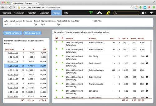 8. Produktbild LEMNISCUS - Praxissoftware / Praxisverwaltung